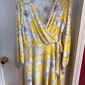 Yellow floral faux wrap dress